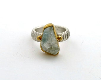 Colorado Topaz Sterling Silver Gemstone Ring ~ 20k Gold, Sterling Silver & Natural Rough Topaz Ring