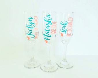 Bridesmaid Champagne Glass, Personalized Toasting Flutes, Bridesmaid Gift, Wedding Gifts, Bridal Party Toasting Flutes
