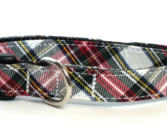 Red, White and Green Plaid Dog Collar