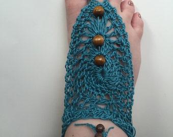 Hand crocheted barefoot sandals, beach footwear, beach wedding