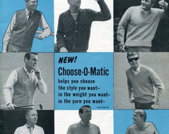 Leaflets 1960s Men's Classics Knitting Pattern Book Bear Brand Vol 96