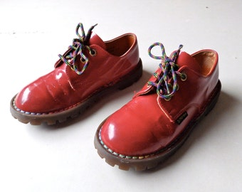 Kids Red Patent Leather Dr Martens w/ Rainbow Stitching - Size 13