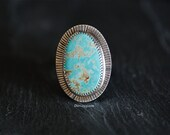 Reserved for Chelsea W - Size 7.5 Sterling Silver Royston Turquoise Ring, Stamped Ring, Southwestern Ring, Native American Inspired