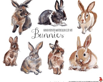 Bunnies clip art, watercolor bunnies painted by hand, rabbits clip art, spring clip art, Easter clipart (5231)