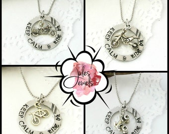 Keep Calm & Ride On Hand Stamped Necklace | Motorcycle | Bicycle | ATV | Dirt Bike | Motocross | 4 Wheeling | Biking | Riding | Bikes Gifts