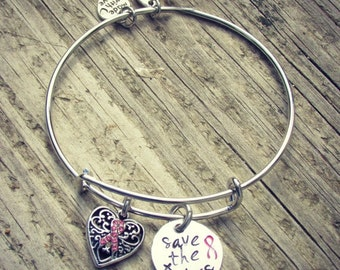 Save the Tatas Hand Stamped Breast Cancer Awareness PINK Ribbon Expandable Bangle bracelet