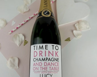 Time To Drink Champagne Adhesive Label