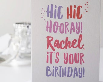 Hic Hic Hooray Birthday Card - Personalised Happy Birthday Card - Birthday Card For Her - Birthday Card For Him - Boozy Birthday Card