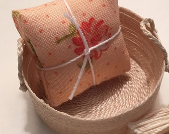 1 1/4 Inch Shabby Chic Handmade Miniature Dollhouse Throw Pillow Set - Peach with Coral and Sage Flower