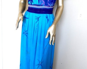 40% OFF Vintage 1980's Tropical Maxi Dress* Purple & Ocean Blues . Size 12 . JUST IN Thyme . Rayon . Hawaii . Comfy.Anytime Dress . Casual O