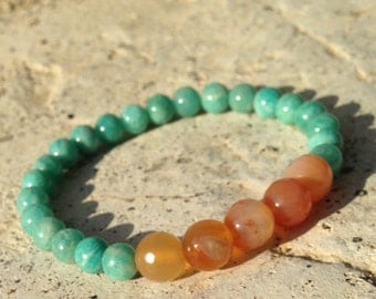 Amazonite and Tangerine Quartz Healing Stone Bracelet