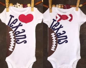 Houston Texans Personalized Heart OR Bow Tie Team Football Onesie
