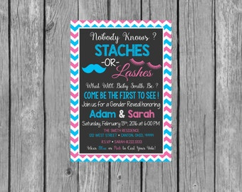 STACHES OR LASHES Gender Reveal Party Invitation - Gender Reveal Invitation