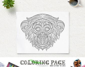 Printable Coloring Page Monkey Head Animal Pages Instant Download Adult Book