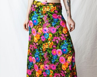 70s Psychedelic Floral Maxi Skirt