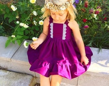 Lacey plum girls  dress, tpddler birthday dress, photography, baby photo prop,coming home outfit,flower girls simple dresses,multiple colors