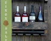 SPRING SALE!  Handmade 4 Bottle Wine Rack, 55 dollars was 65 Rustic Wine Rack, Pallet Wine Rack, Wedding Gift, Unique Wine Rack -Dark Walnut