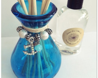 Beach/Nautical Glass Reed Diffuser Gift Set-Choose Your Scent & Charm