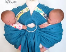 TwinSling Blossom, Double Ring sling, Baby carrier for twins, Tandem ring sling, For use from birth ( 5lbs - 35lbs )