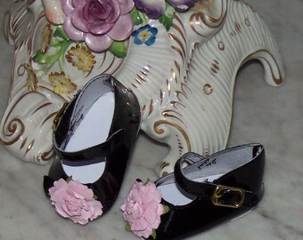 "Black Patent Leather Mary Jane Shoes with Pink Flower.  American Girl Doll.  18"" Doll. Winnie's Wardrobe."