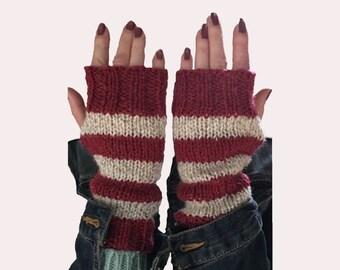 Handmade Red & Oatmeal Fingerless Gloves Sleeve Extensions Fingerless Mittens
