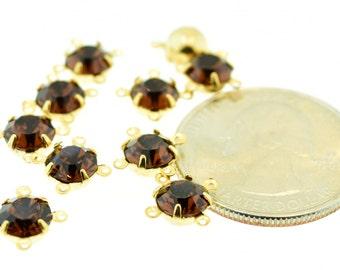 10 Piece Lot Swarovski Rhinestone 29ss Smoky Topaz Amber Rhinestone in 4 Ring Single 14K Gold Plated Brass Setting Vintage