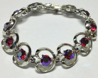 Vintage Red AB Aurora Borealis Rhinestone Bracelet