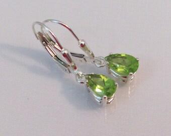 Peridot Leverback Earrings, Sterling Silver, Natural Peridot Earrings, 8x5mm Pear Gemstone, August Birthstone Gift, Peridot Jewelry