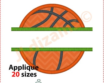 Basketball Applique Design. Basketball embroidery design. Split basketball embroidery. Split basketball applique. Machine embroidery design