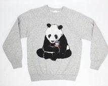 PANDA Vintage Grey Medium Pullover Sweatshirt, 90s Panda Sweatshirt Hoody, Vintage 90s pullover hoody Panda Bear Gray Sweatshirt Hoo