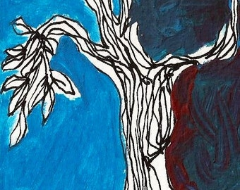 ACEO, tree, painting, acrylic, original, ACEO, collectible, 1/1