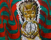 "Red and Green Ribbon Squirrel (ORIGINAL ACRYLIC PAINTING) 8"" x 10"" by Mike Kraus"