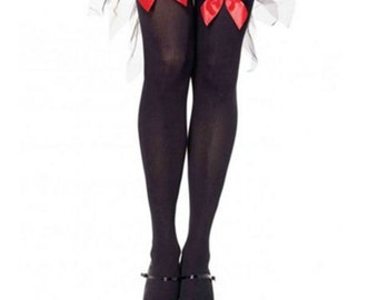 Ava Pin-Up Red Bow Black Thigh High Stockings