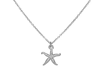Sterling Silver Starfish Pendant Necklace, 925 Sterling Silver Star Fish Charm Necklace, Nautical Beach Gift, Everyday Minimalist Jewelry