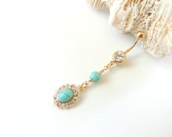 Gold and Turquoise Belly Ring, Belly Button Jewelry, Boho Belly Ring, Turquoise Belly Ring, Long Dangle. 1454