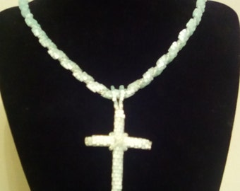 mint green frost seed bead necklace