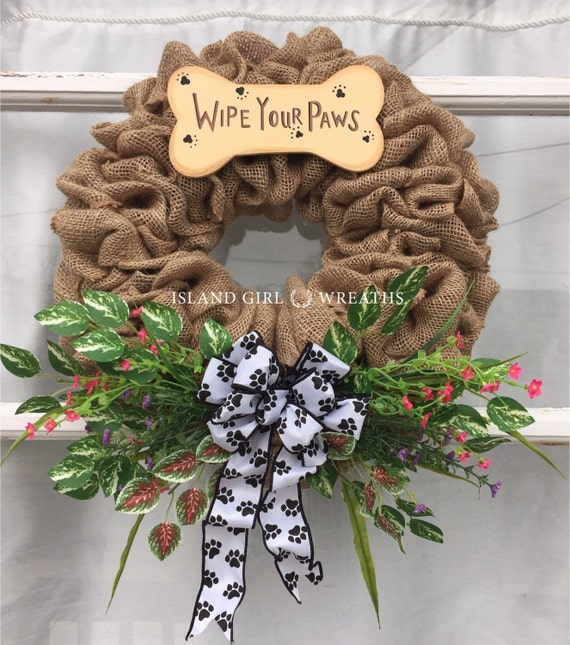 Dog Wreath Pet Wreath Pet Burlap Wreath By Islandgirlwreaths