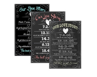 Love story sign, our love story sign, couples history, couple facts, engagement party chalkboard style, wedding sign, SGNWED05