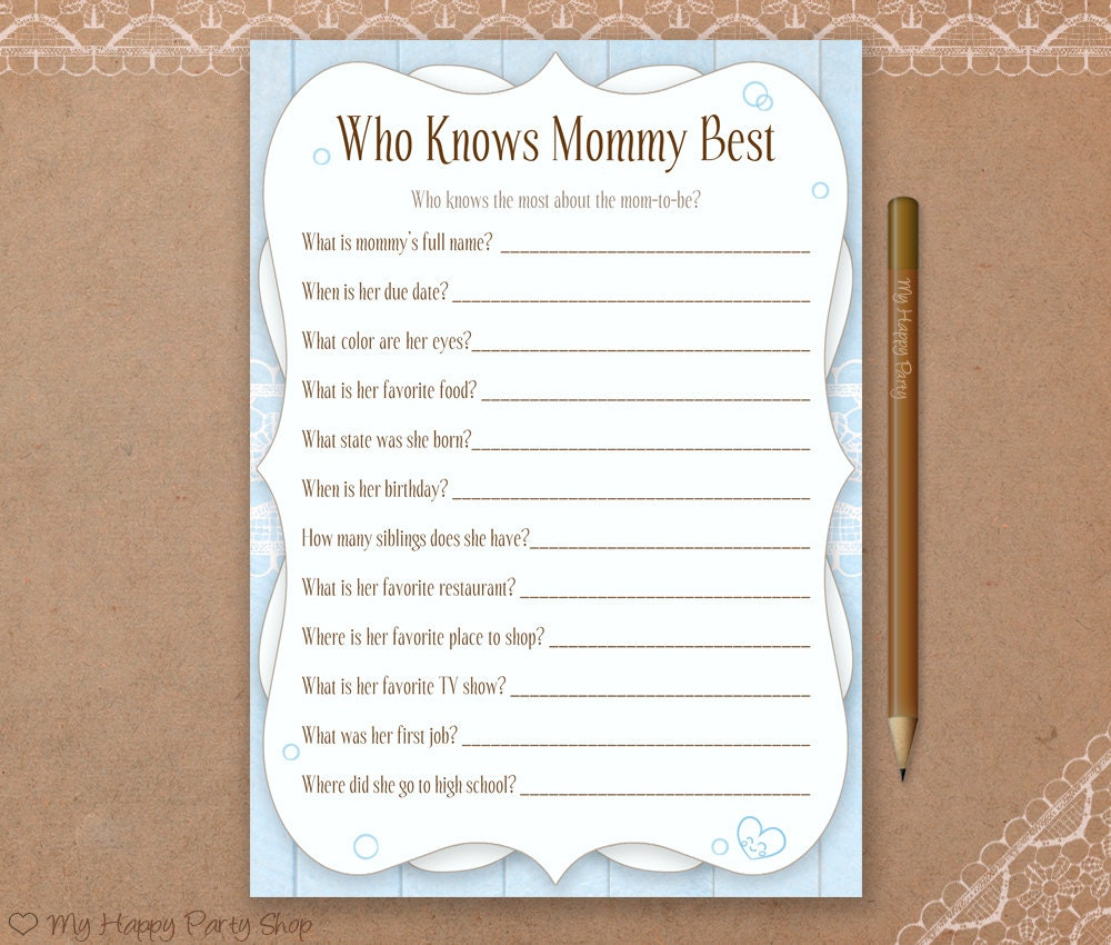 It is a picture of Geeky Free Printable Baby Shower Games Who Knows Mommy the Best