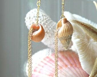 SALES - Cornucopia - Shells and chains earrings