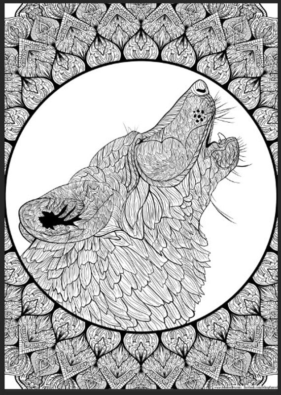 Wolf Mandala Detailed Colouring Page