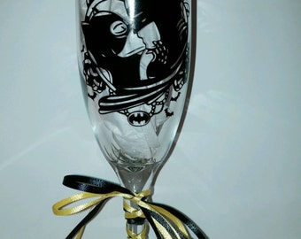 Batman and Catwoman Champagne Wedding Glasses (161876714908)