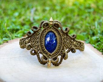 BOHO Macrame Bracelet with Lapis Lazuli, Micromacrame, Bridal Jewelry, Gipsy Jewelry, Bohemian Bracelet, Hippie Chic, Elegant Bracelet