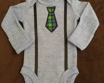 Infant Boy Onesie with Necktie Applique and Suspenders