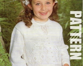 First Communion, Girls Cardigan, Vintage Knitting Pattern, Girls Knitted Sweater, PDF Instant Download, 50% OFF JUNE