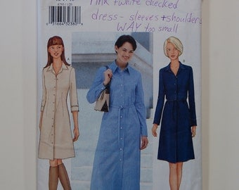 "Out-of-print Butterick 6793 Misses' Shirtdress Pattern / Sizes 12-16 / Bust 34""-38"""