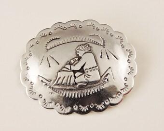 Southwestern Sterling Silver Brooch / Pendant