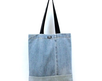 Denim Bag of recycled jeans, light blue