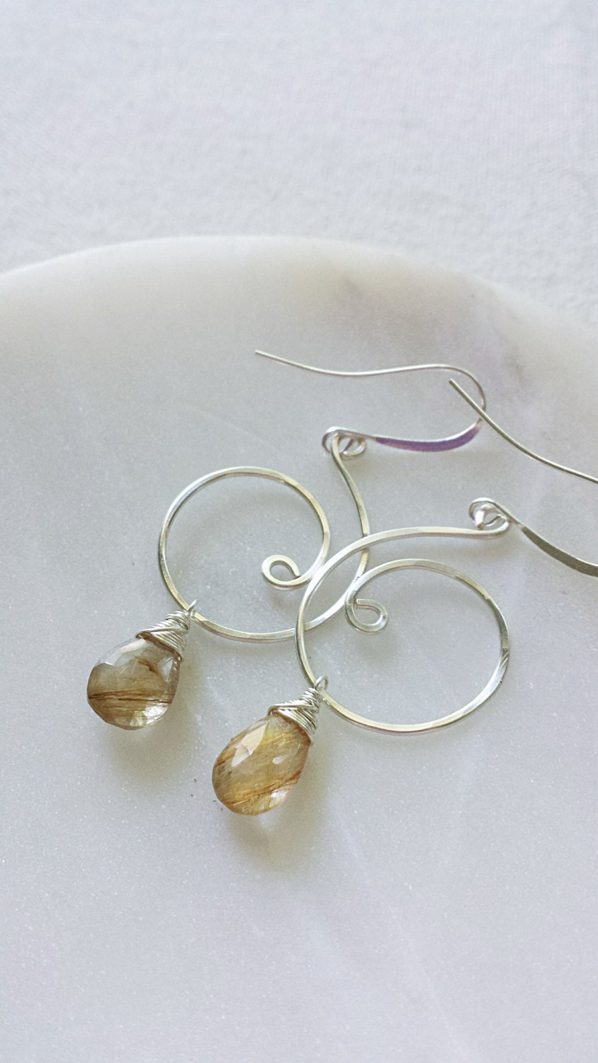 Rutilated quartz earrings gold rutilated quartz jewelry for Golden rutilated quartz jewelry
