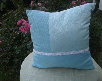 "mint Pillow gerade - Lacepillow - Jersey Pillow - 16""x16"" - decorative Pillow - homedecor - handmade Pillow"